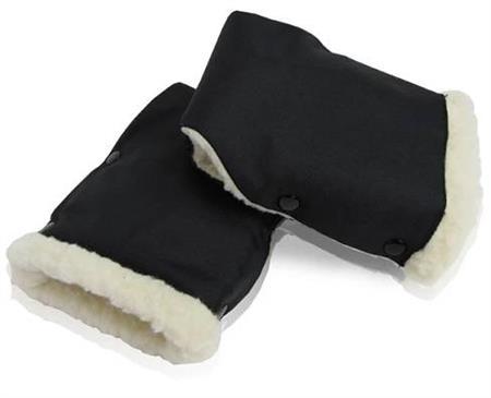 A Rukávník na kočárek černá + béžový umělý kožich 2