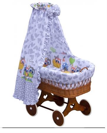 Proutěný košík na miminko s nebesy Kulíšek - šedá