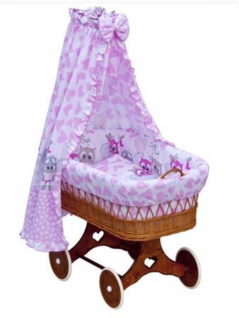 Proutěný košík na miminko s nebesy Kulíšek - růžová