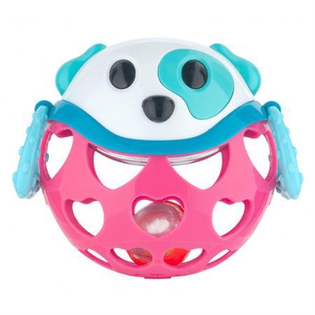 Interaktivní hračka míček s chrastítkem Ružová