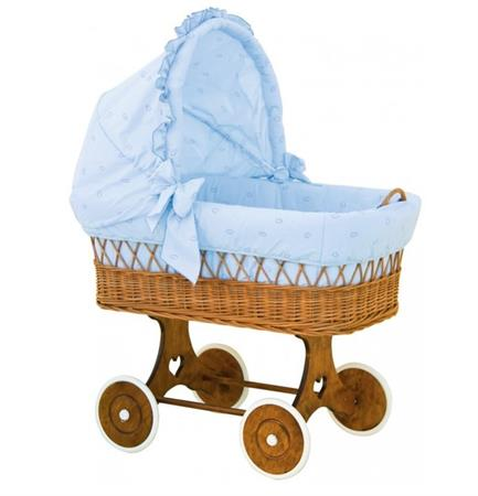 Proutěný koš pro miminko s boudičkou malý mráček - modrý
