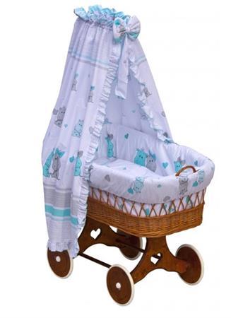 Proutěný košík na miminko s nebesy Hroch - modrá