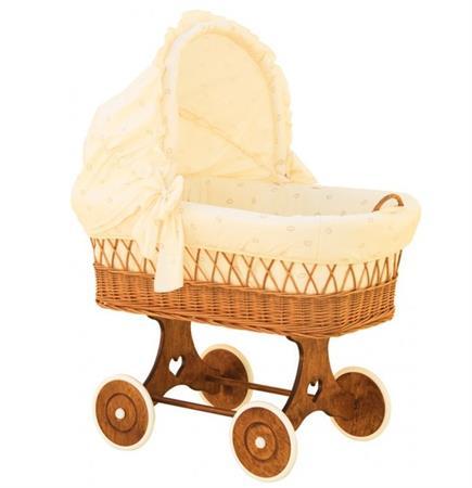 Proutěný koš pro miminko s boudičkou  - béžová