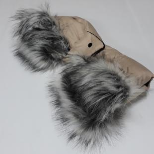 Luxusní rukávník na kočárek béžový s kožíškem 2
