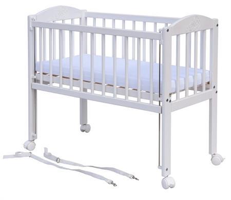 Z Dětská postýlka k posteli rodičů (borovice), st. bok - bílá 90 x 41 cm