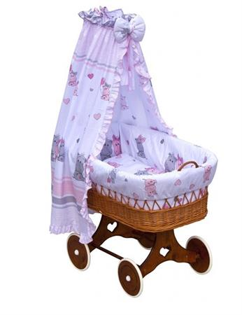 Proutěný košík na miminko s nebesy Hroch - růžová