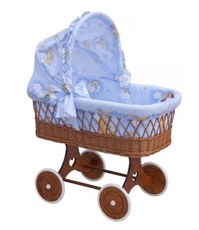 Proutěný košík na miminko s boudičkou Mráček - modrá