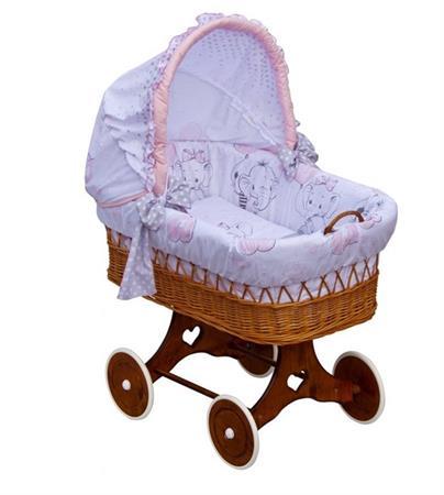 Proutěný košík na miminko s boudičkou SLON Gusto - růžová