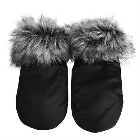 Luxusní rukávník na kočárek černý s kožíškem