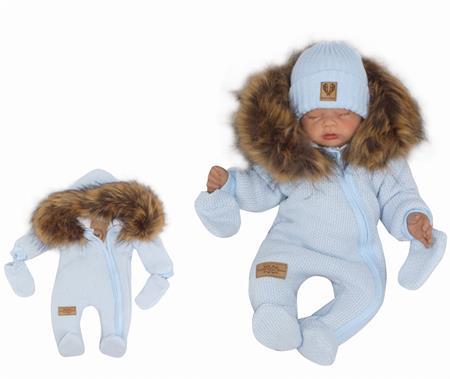 Luxusní zimní kombinéza s kožichem modrá 01