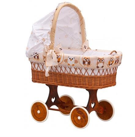 Proutěný košík na miminko s boudičkou Sovička