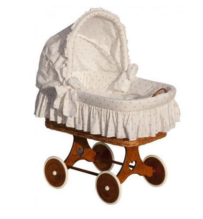 Proutěný košík pro miminko s boudičkou Hvězda - béžová