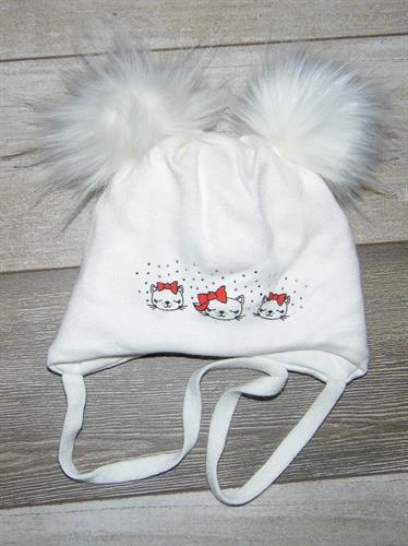 Zimní čepice s bambulí kočičky - krémová