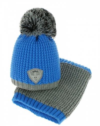 Dívčí zimní čepice s komínkem - modrá