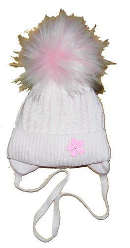 Dívčí čepice bambule - růžová kytička