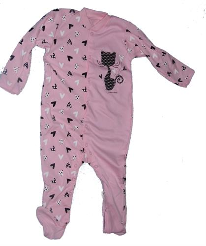 Bavlněný overal na spaní kočka - růžový