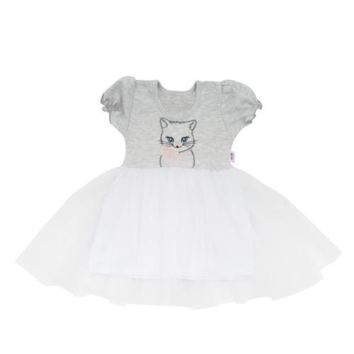 Dívčí šatičky s tylovou sukní - šedé