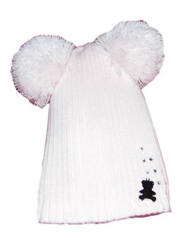 Dívčí pletená čepiče bambule - růžová