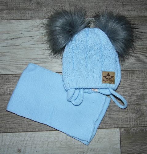 zimní čepice se šálkou - modrá