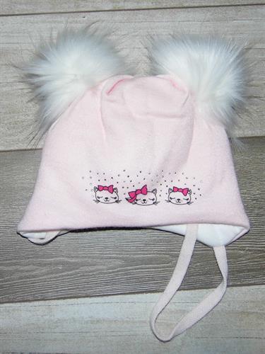 Zimní čepice s bambulí kočičky - růžová