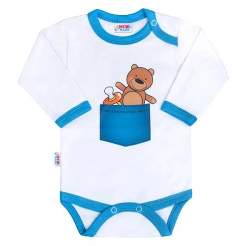 Body s potiskem New Baby medvídek v kapse