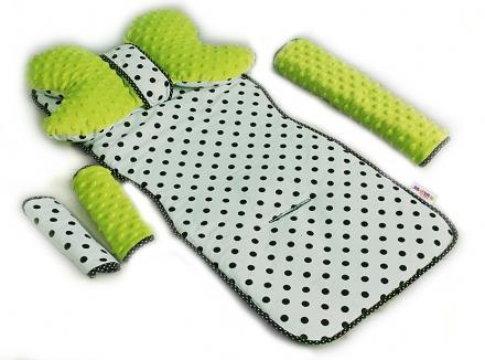 Komfortní sada do kočárku - zelená + puntík