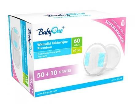 Jednorázové absorpční vložky/tampony Babyono premium 60 Ks