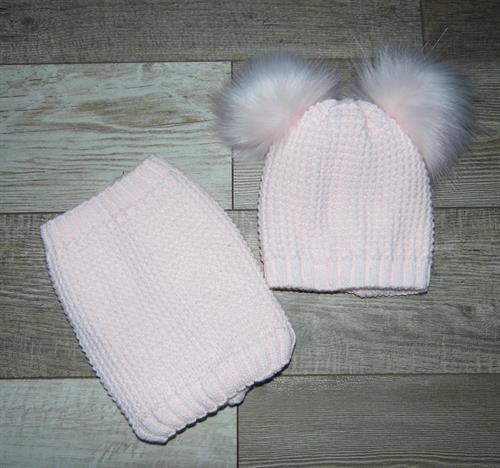 zimní čepice s nákrčníkem - světle růžová
