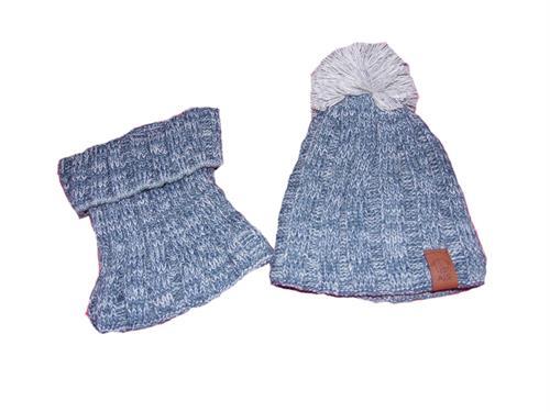 pletená čepice bambule s nákrčníkem - modrá