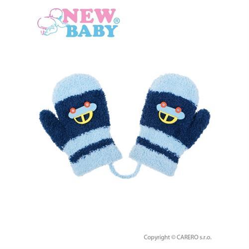 Dětské zimní rukavičky New Baby s autem tmavě modro-modré