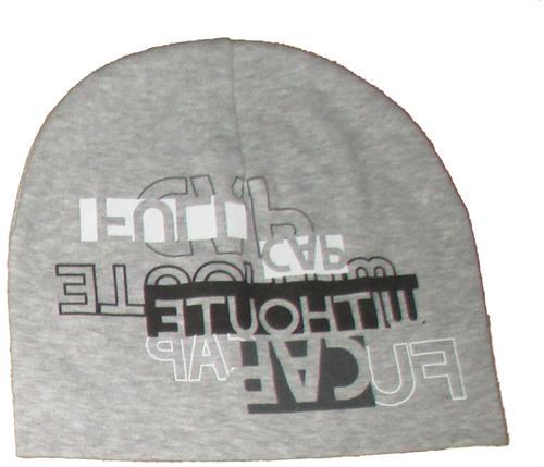 Chlapecká čepice nápis - světle šedá