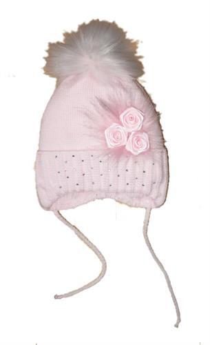 Dívčí pletená čepička s bambulí - růžová