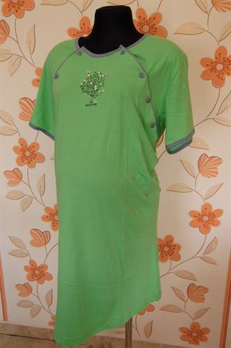 Kojící noční košile propínací - zelená