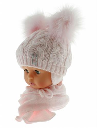dívčí zimní čepice se šálkou - růžová