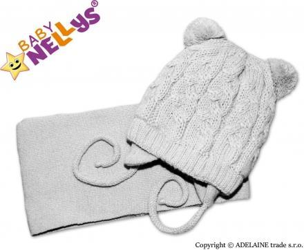 Pletená zimní čepice se šálou - šedá