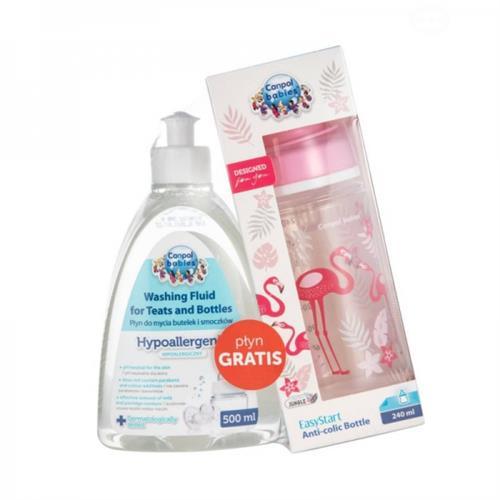 Kojenecká láhev Canpol Babies + mycí prostředek - plameňák