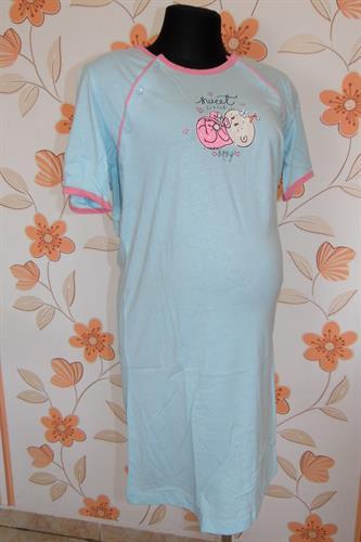 Kojící noční košile propínací miminko - světle modrá