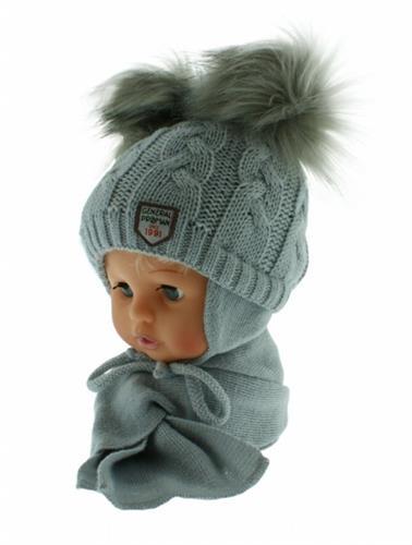 zimní čepice se šálkou - šedá
