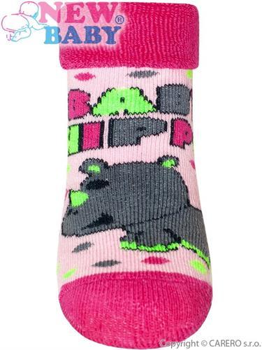 Dívčí froté ponožky New Baby s hrochem