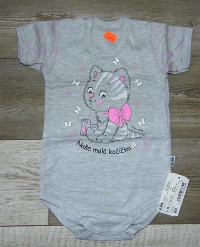 kojenecké body krátký rukáv kočička - šedé