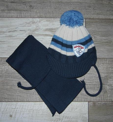 zimní čepice s kšiltem a šálou