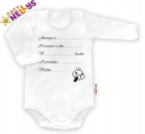 Kojenecké body dl. rukáv Baby Nellys ® - Narodil/a jsem se...