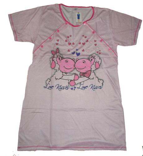 Kojící noční košile propínací ovečky - růžovo-bílá