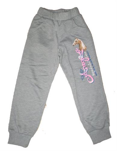 Dívčí teplákové kalhoty s náplety - šedé