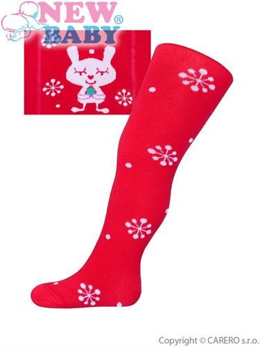 bavlněné punčocháčky New Baby červené s vločkami a kočičkou