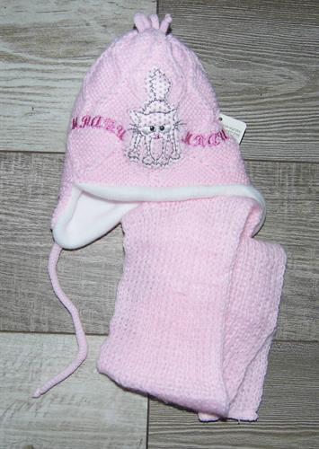 zimní čepice se šálkou - růžová