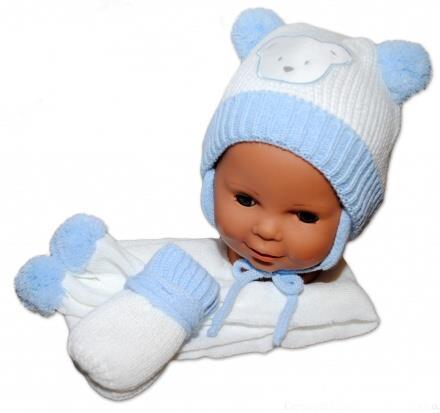 zimní čepička se šálou a rukavičkama -modro bílá