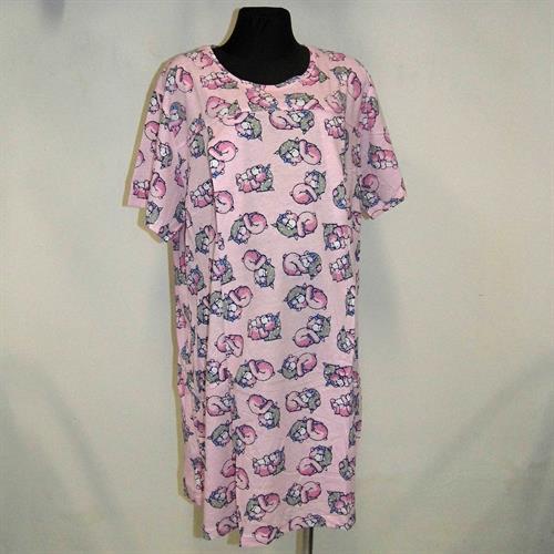 Těhotenská a kojící noční košile s průstřihy- medvídci růžová