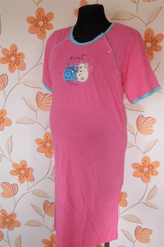 Kojící noční košile propínací miminko - růžová