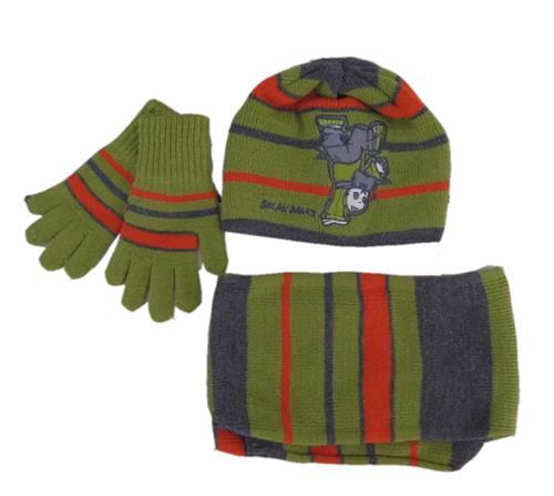 Chlapecká zimní čepice se šálou a rukavicema - zelená